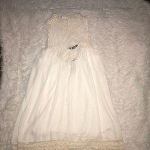 White cream crochet lace high neck dress